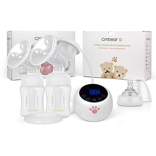 %32 OFF! cmbear Double Electric Breast Pump, Portable Breastfeeding Pump, Rechargeable Battery Desig...