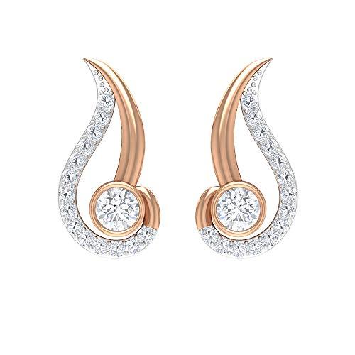 Pendientes de tuerca de hoja de dos tonos de 1/4 quilates para mujer con diamantes (calidad AAA), rosca trasera