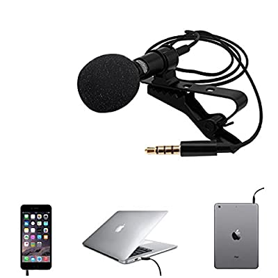 Techson 3.5mm Lapel Microphone with Easy Clip, Mini Lavalier Noise Cancelling Mic for iPhone iPad iPod Android Phone (Black)