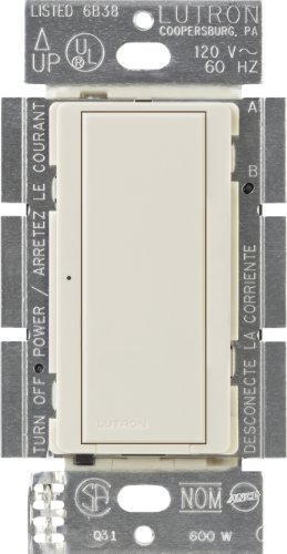 Lutron Digital Dimmer Switch for Halogen and Incandescent Bulbs, 120-Volt/8-Amp, Single-Pole or Multi-Location, MA-S8AM-LA, Light Almond