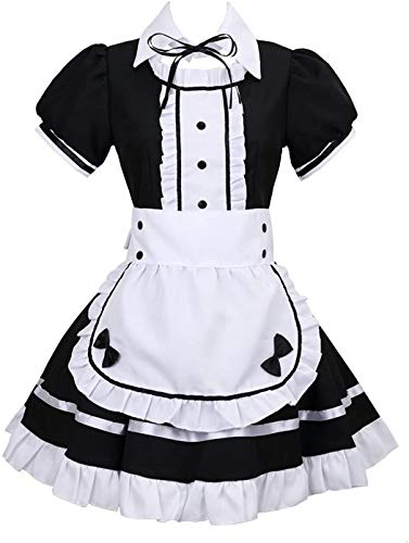 tzm2016 Anime Cosplay Costume French Maid Outfit Halloween, 4 pcs as a set including dress; headwear; apron; fake collar ( black , Size L )
