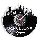 LED 7 Colores Relojes de Pared España Barcelona Skyline Corte...