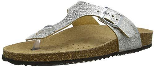 Geox Damen D BRIONIA B Flip-Flop, Silver, 39 EU