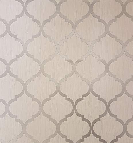 Glitter Trellis Wallpaper Ivory Gold Metallic Sparkle Geometric Y�L Crystal