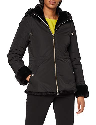 Geox W Kaula abrigo de pelo sintético, Negro, 44 para Mujer