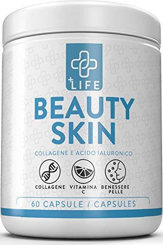 Collagene Marino con Acido Ialuronico + Vitamina C ● Beauty Skin Piulife 60 Compresse Concentrate ● Collagene Idrolizzato Viso, Acido Ialuronico Anti invecchiamento Pelle