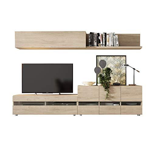 Tousmesmeubles Composition TV Bois Clair - Camelia - L 270 x l 45 x H 180 - Neuf