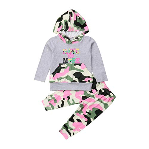 Toddler Baby Girl I Love You More Lightweight Camouflage Hoodie Pants Set Outfit (Grey/Pink, 2-3T)