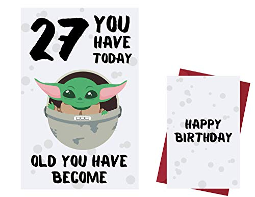 Funny Cute Baby Yoda 27th Birthday Card – Baby Yoda 27 Years Old Anniversary Card – Star Wars Happy 27th Birthday Card – Star Wars 27th Birthday Card – with Envelope
