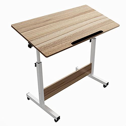C Laptop Tablae Mesa auxiliar para el hogar con ruedas Mesita de noche ajustable Mesita de noche de hospital tipo C, área de escritorio 60 * 40 cm, adecuada para sofá cama, cama de (Color:Nieve azul)