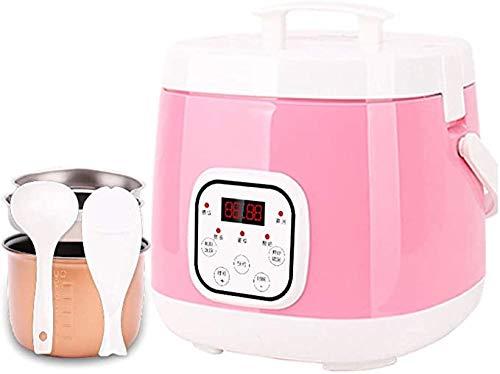 Digital non-stick pot, Mini 2L rijstkoker timer gebruik warm functie bescherming van de oververhitting en thermische zekering, rijst lepel en maatbeker,Pink