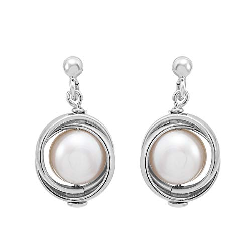 Honora Freshwater Cultured Pearl Love Knot Drop Earrings in Sterling Silver