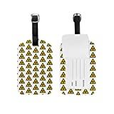 Leather Luggage Tags Travel ID Labels with Radioactive Sign Hipster Print, Set of 1...