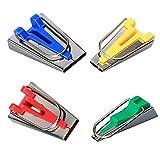 4PCS Fabricante de Cintas al Bies Tape Maker Set, Juego de herramientas de cinta al bies plegable, 6 mm/12 mm/18 mm/25 mm, 4 tamaños para...