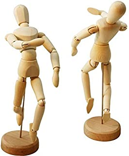 HSOMiD 2-Pcs Artists Wooden Male Manikin Blockhead Jointed Mannequin