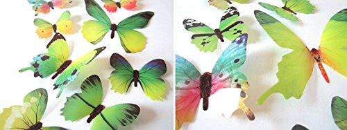 Lot de 12 Papillons Papiers Décoration de Maison et de Pièce Papillon DIY Décoration dans le style 3D Sticker Mural autocollant Sticker Muraux 12 Pièces (Rouge/Bleu/Jaune/Vert/Rose/Couleur) WINJIN