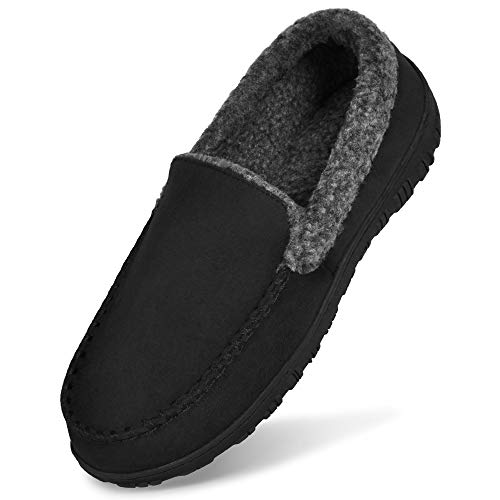 MIXIN Mens Moccasin Slippers-Fleece Lined Wide House Shoes with Memory Foam Black Size 12