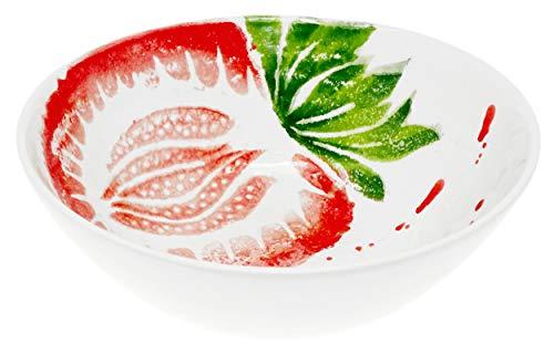 Lashuma Runde Schüssel für Salat, Keramikschale Motiv: Erdbeere, Obstschale Ø 20 cm