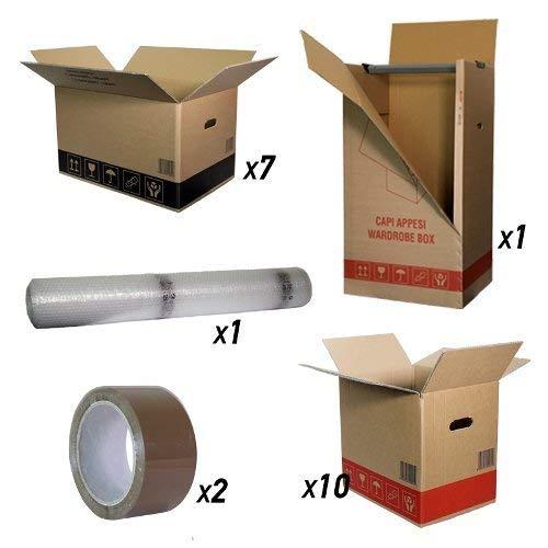 Scatole Trasloco Economy: Scatole Cartone Doppia Onda : 7 scatole cm 60x40x35 + 10 scatole cm 40x30x35 + 1 baule abiti cm. 50x60x111 + 1 rotolo pluriball h 1 mt x 10 metri + 2 nastri adesivi avana