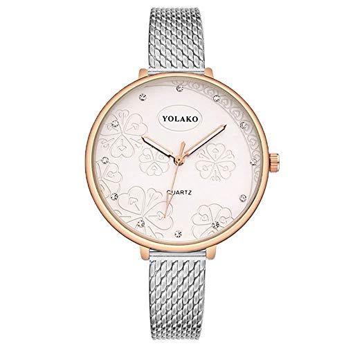 Uhren Damenuhren Watches Armbanduhren WatchFrauen Rose Gold Blumenmuster Armbanduhren Luxus Kunststoff Leder Quarzuhren Clock-Silber