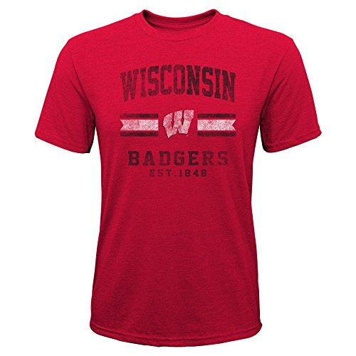 Gen 2 NCAA Wisconsin Badgers Youth Boys Player Pride Tri-Blend Tee, Youth Boys Large(14-16), Dark Red