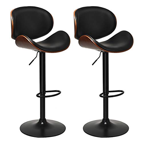 COSTWAY Bar Stools Set of 2, Adjustable Swivel Barstools with Back, 360 Degree Seat, PU Leather and Curved Footrest, Dining Chairs w/Large Iron Base for Kitchen, Counter, Bar, Black