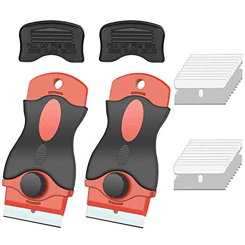 Gebildet 2pcs Rascador de vidrio y vitrocerámica - Especial para Vitro-Cerámicas y Placas de Inducción-20pcs Acero Inoxidable Cuchillas