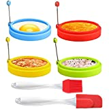 ★Package: 4 Pack Premium Silicone Rings + 1 Pack Silicone Brush + 1 Pack Egg Spatula ★Premium Material: Egg ring is made of high quality silicone. ★Multi-function:Perfect size for making homemade omelets, crumpets, fried eggs, pancakes, fritters, etc...