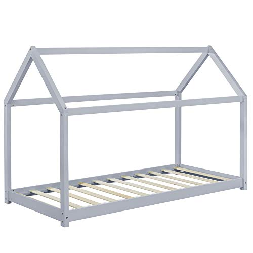 Cama monessori gris claro para colchón de 90 x 200 cm