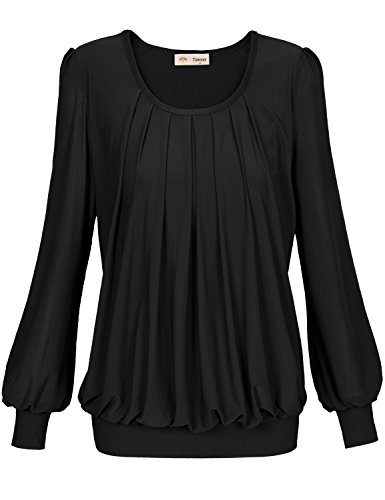 Timeson Women's Blouses for Work Plus Size Formal Wear Evening Black Pleated Front Fitted Slim Fit Tunic Top Tall Business Attire Dress Shirts Professional Silky Fall Clothes