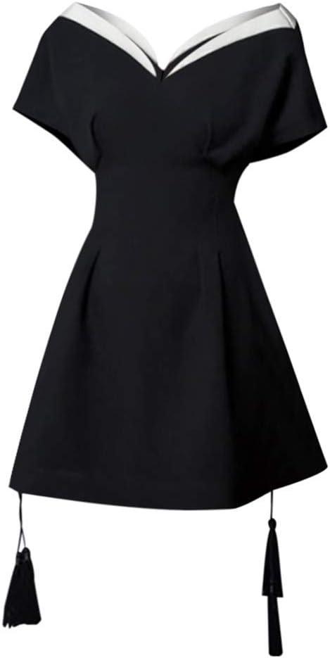 Women Dress Sexy Strapless Black Dress Retro Color Matching Slim Temperament Elegance Women's Clothing Summer (Color : Black, Size : XS)