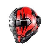 Ltongx Casco Moto con Flip Abierto con Máscara Abierta Casco Moto, Casco, Casco De Motocicleta Certificada, Transformadores Iron Man - M, L, XL,Spaceghostclaws,M