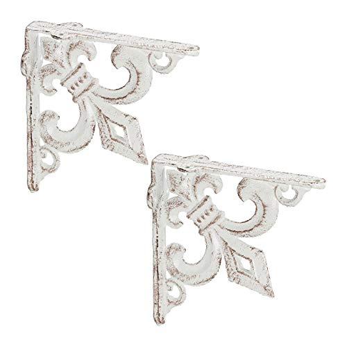 Relaxdays Regalwinkel antik, 2er Set, Regalträger Gusseisen, Lilien Ornament, Vintage Wandwinkel für Regalboden, weiß
