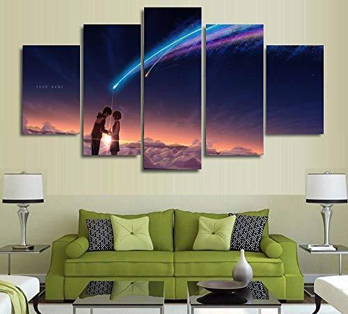 ImAgenes Enmarcadas 5 piezas de arte de pared mural tu nombre Kimi no Na wa pintura arte lienzo pintura cartel tu nombre película cartel marco obra de arte
