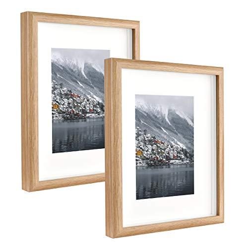 Metrekey Bilderrahmen 20x25 cm mit Glas, Box 3D Hozlrahmen mit Passepartout für Bildformate 13x18 cm, 2er Set Gelb Fotorahmen für Tischdisplay und Wandbehang