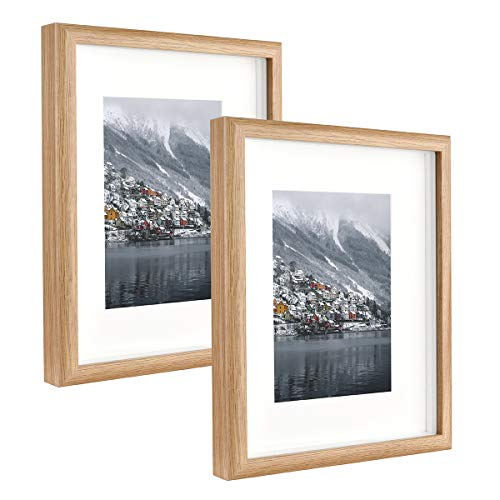 Metrekey Marco de fotos de 20 x 25 cm con cristal, caja 3D con paspartú para formatos de imagen de 13 x 18 cm, juego de 2 marcos de fotos amarillos para mesa y colgante de pared