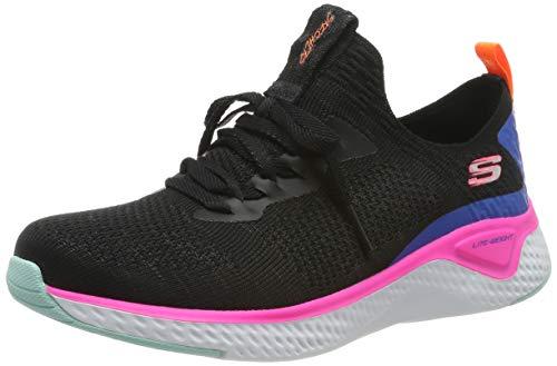 Skechers Stretch Flat Knit Laced Slip- Sneaker Damen, Schwarz (Black Knit Mesh/Multi Trim Bkmt), 40 EU