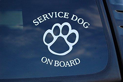 Service Dog On Board Sticker Vinyl Decal K9 Caution Car Pick Size/Color! (V463 (4' X 4', White)