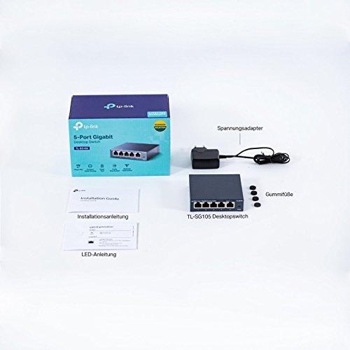 TP-Link TL-SG105 5-Ports Gigabit Netzwerk Switch (bis 2000 MBit/s im Vollduplexmodus, geschirmte RJ-45 Ports, Metallgehäuse, optimiert Datenverkehr, IGMP-Snooping, unmanaged, lüfterlos) blau metallic
