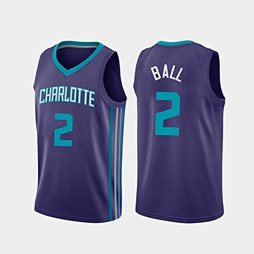 GIHI Camiseta De La NBA para Hombre, Nueva Temporada De 2021 Charlotte Hornets 2# Lamelo Ball, Ropa De Entrenamiento De Baloncesto De Malla Bordada Retro,A,XXL(185~190CM/95~110KG)