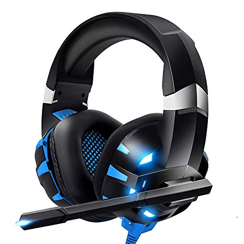 RUNMUS Gaming Headset Xbox One Headset PS4 Headset with Crystal Clear Mic & LED Light, Compatible with PC, PS4, Xbox One Controller(Adapter Not Included) (Renewed)