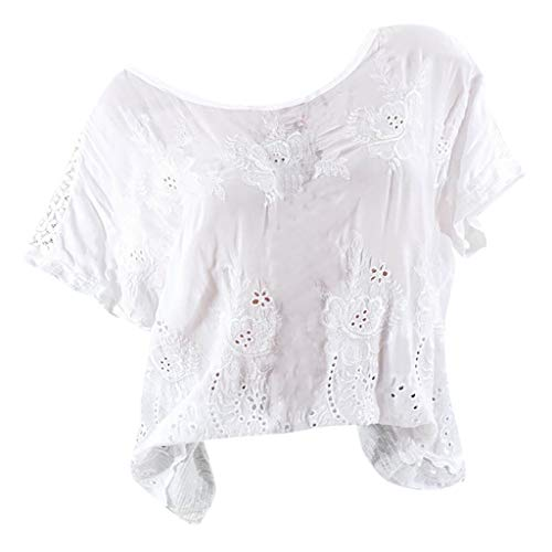 KPPONG Damen Große Größen Bluse Einfarbig Spitze Stickerei Hemd Locker Damenblusen Tunika Blusenshirt Elegant Oberteile Tops T-Shirt