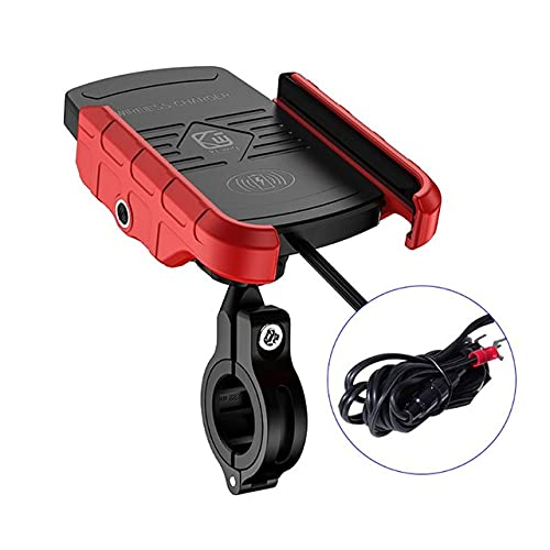 Byrhgood 7.5W & 10W Qi Qi Fast Wireless Cargador de la Motocicleta Soporte del Soporte del Soporte del Soporte para 8 x XR XS MAX para S10 + S9 + (Color : Red)