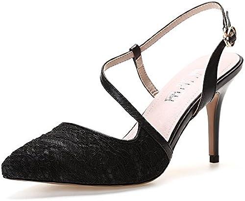 RUGAI-UE Sandales à Talons Hauts en élasthanne à l'élastique Talon Fin Pointed Back Violet Baotou Sandals Mode Chaussures Femme