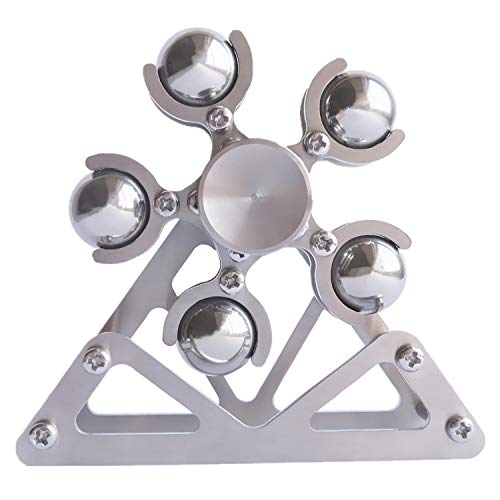 DMaos Ferris Wheel Fidget Spinner, Kinetic Desk Toys Spin with Stand, Metal Stainless Steel Smooth Bearing, High Speed Colorful Marble Rainbow, Premium Gift Figit Toy for Adults Kids - 10 Balls