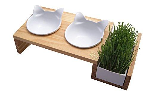 ViviPet Cat Dining Table - 15° Tilted Platform Pet Feeder_ Solid Pine...