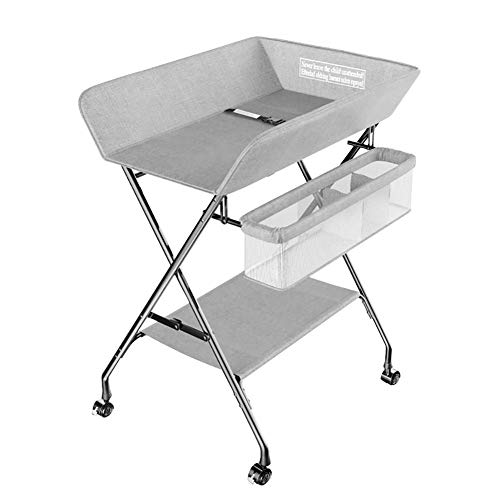 AFDK Wickeltisch grau faltbar mit Stauraum und Rollen, tragbarer Windel-Organizer für Tischhöhenverstellung