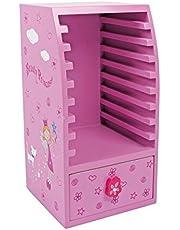 """CD-kast """"Beauty Princess"""" van hout, kindermeubels decoratief in roze met prinsessenmotief, geschikt voor 9 cd's"""
