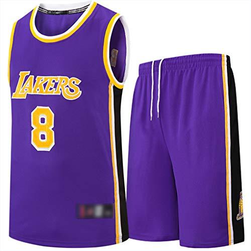 XJIANQI Jersey de Baloncesto para Hombres, Lakers # 8 Jerseys Transpirable Baloncesto Swingman Top Top Traje de Entrenamiento Chaleco Purple-XXXL