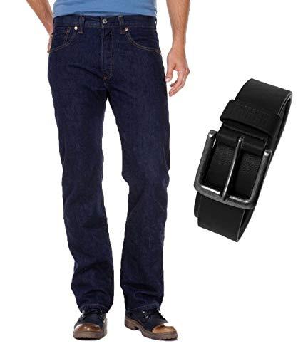 Levis® 501® Jeans - Regular Straight Fit - Stonewash - Onewash - Marlon Wash - Black mit Urban Classics Gürtel, Größe:W 36 L 30, Wash:onewash (00501-0101)